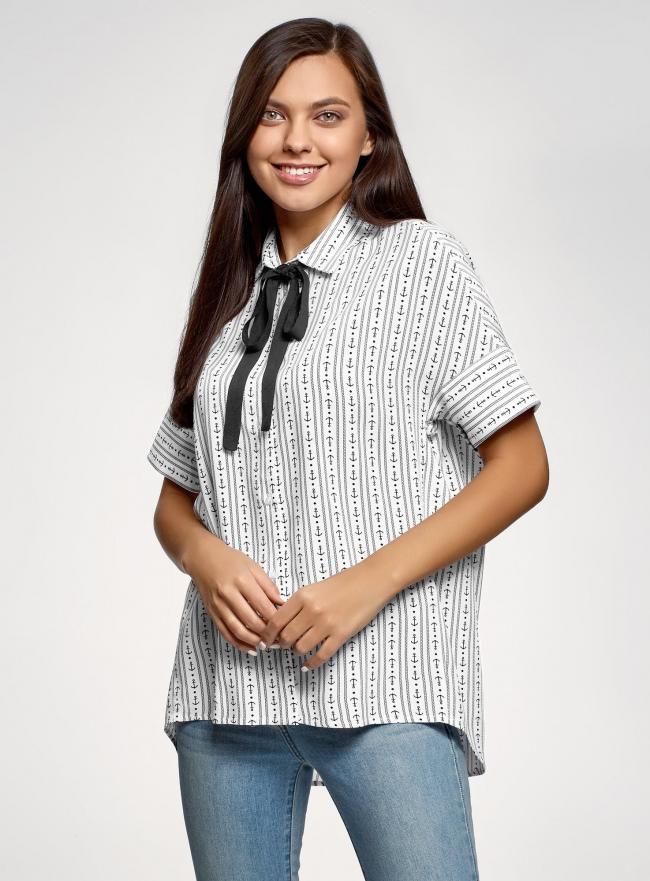 Блузка вискозная с завязками на воротнике oodji #SECTION_NAME# (белый), 11405143/48458/1029O