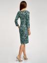 Платье трикотажное с вырезом-капелькой на спине oodji #SECTION_NAME# (зеленый), 24001070-5/15640/6910F - вид 3