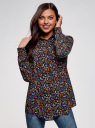 Блузка с нагрудными карманами и регулировкой длины рукава oodji для женщины (черный), 11400355-8B/48458/2919F