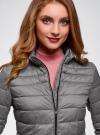 Куртка с трикотажными манжетами и воротником-стойкой oodji #SECTION_NAME# (серый), 10204056/47172/2500N - вид 4