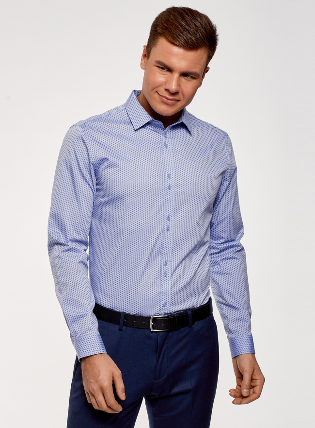 Рубашка из хлопка принтованная oodji для мужчины (синий), 3L110311M/47778N/7079O