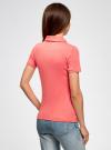 Поло с металлическими пуговицами и вышивкой на груди oodji #SECTION_NAME# (розовый), 29311001/39813N/4D00N - вид 3