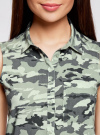 Топ вискозный с нагрудным карманом oodji для женщины (зеленый), 11411108B/26346/6062O - вид 4