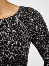 Платье с декоративными молниями принтованное oodji для женщины (черный), 24007024/43121/2912A - вид 5