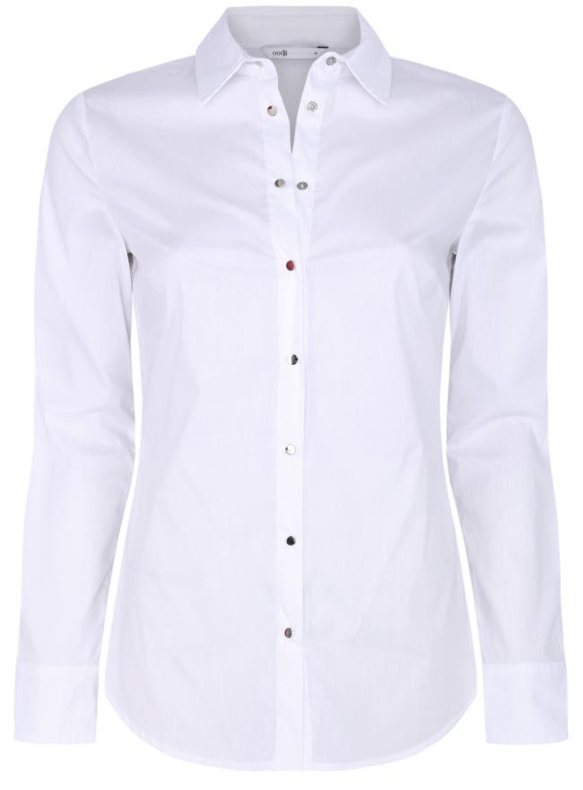 Рубашка хлопковая с металлическими кнопками oodji для женщины (белый), 21406034-1/42083/1000N
