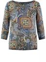Блузка принтованная из шифона oodji #SECTION_NAME# (синий), 21404007/15018/7529E