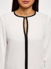 Блузка из вискозы с контрастной отделкой oodji #SECTION_NAME# (белый), 11411059-6B/48756/1229B - вид 4