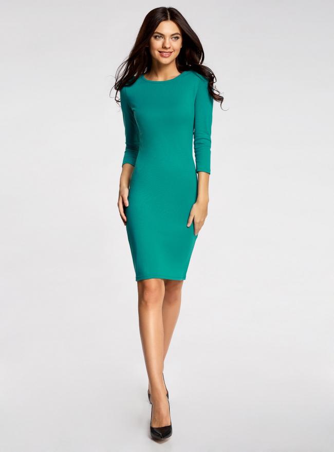 Платье трикотажное с вырезом-капелькой на спине oodji для женщины (зеленый), 24001070-5/15640/6D00N