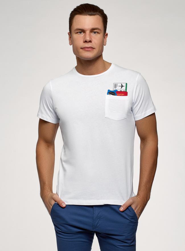 Футболка хлопковая с принтом и нагрудным карманом oodji для мужчины (белый), 5L611009I-4/44135N/1019P
