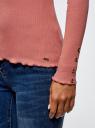 Водолазка в рубчик с пуговицами на рукавах oodji #SECTION_NAME# (розовый), 15E11009-1/48037/4B00N - вид 5