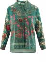 Блузка свободного силуэта с цветочным принтом oodji #SECTION_NAME# (зеленый), 21411109/46038/6D19F