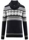 Пуловер с зимним узором и воротником-шалькой oodji #SECTION_NAME# (синий), 4L205022M/44012N/7912J