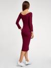 Платье облегающее с вырезом-лодочкой oodji для женщины (красный), 14017001-6B/47420/4900N - вид 3