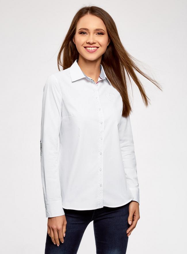 Рубашка хлопковая прямого силуэта oodji #SECTION_NAME# (белый), 11403204/36217/1000N