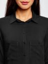Блузка базовая из вискозы с карманами oodji для женщины (черный), 11400355-4/26346/2900N