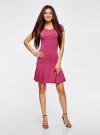 Платье трикотажное с воланами oodji #SECTION_NAME# (розовый), 14011017/46384/4700N - вид 2