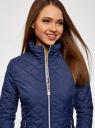 Куртка стеганая с воротником-стойкой oodji #SECTION_NAME# (синий), 10204051/33744/7900N - вид 4
