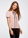 Блузка с коротким рукавом и контрастной отделкой oodji #SECTION_NAME# (розовый), 11401254/42405/4029G - вид 2