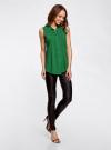 Топ вискозный с нагрудным карманом oodji для женщины (зеленый), 11411108B/26346/6E00N - вид 6