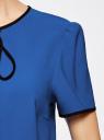 Блузка с коротким рукавом и контрастной отделкой oodji #SECTION_NAME# (синий), 11401254/42405/7529B - вид 5