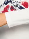 Футболка с длинным рукавом принтованная oodji для женщины (белый), 14201008/24574/1245P - вид 4