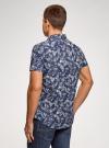 Рубашка принтованная с коротким рукавом oodji #SECTION_NAME# (синий), 3L410128M/48244N/7910F - вид 3