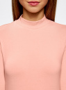 Водолазка хлопковая с рукавом 3/4 oodji #SECTION_NAME# (розовый), 15E11007B/46147/4300N - вид 4
