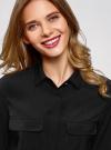 Блузка из струящейся ткани с нагрудными карманами oodji #SECTION_NAME# (черный), 11403225-6B/48853/2900N - вид 4
