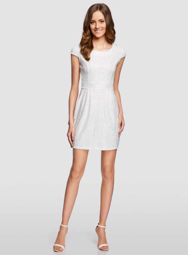 Платье трикотажное кружевное oodji для женщины (слоновая кость), 14001154/42644/1200L