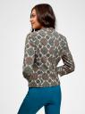 Жакет приталенный со складками на рукавах oodji для женщины (разноцветный), 11202069/42830/1255E
