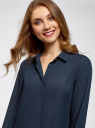 Блузка базовая из струящейся ткани oodji #SECTION_NAME# (синий), 11400368-8B/48854/7900N - вид 4