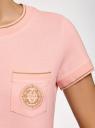 Футболка прямого силуэта с вышивкой oodji #SECTION_NAME# (розовый), 14701090/46161/4000P - вид 5