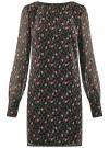 Платье прямого силуэта из струящейся ткани oodji #SECTION_NAME# (черный), 11900150-13/13632/2945E