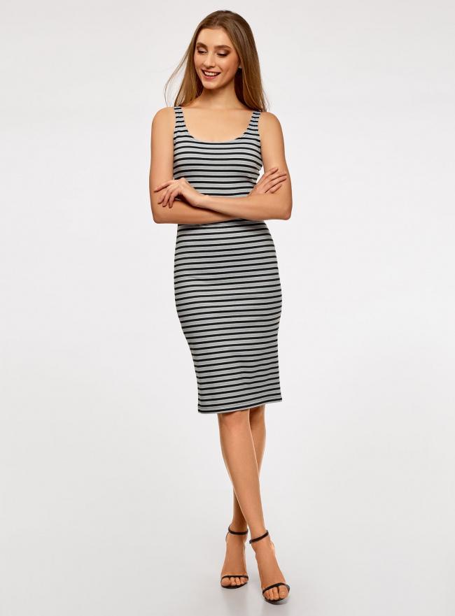 Платье-майка трикотажное oodji #SECTION_NAME# (серый), 14015007-3B/37809/2329S