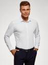 Рубашка приталенного силуэта с длинным рукавом oodji #SECTION_NAME# (белый), 3L110368M/49382N/1029S - вид 2