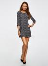 Платье с карманами и отделкой из искусственной кожи oodji #SECTION_NAME# (черный), 12C02003/43299/2979E - вид 2