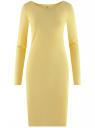 Платье трикотажное облегающего силуэта oodji для женщины (желтый), 14001183B/46148/5000N