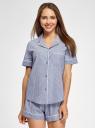 Рубашка домашняя из хлопка oodji для женщины (синий), 59808021/49806/7510S