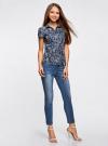Блузка принтованная из легкой ткани oodji #SECTION_NAME# (синий), 21407022-9/12836/7974E - вид 6