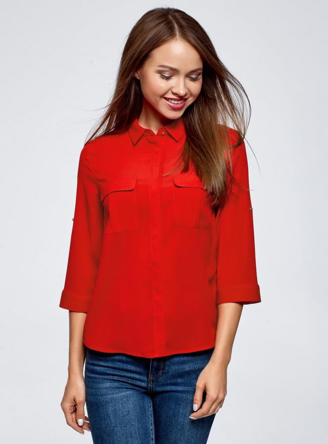 Блузка из струящейся ткани с нагрудными карманами oodji #SECTION_NAME# (красный), 11403225-6B/48853/4500N