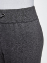 Брюки трикотажные на завязках oodji для женщины (серый), 16701042-1B/46919/2500M