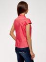 Рубашка с воротником-стойкой и коротким рукавом реглан oodji #SECTION_NAME# (розовый), 13K03006B/26357/4D10Q - вид 3