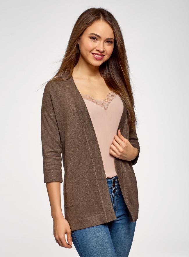 Кардиган без застежки с карманами oodji для женщины (коричневый), 73212397B/45904/3900M