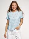 Блузка хлопковая свободного силуэта oodji для женщины (синий), 13K01008/13175N/7050O