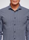 Рубашка приталенная с графичным принтом oodji #SECTION_NAME# (синий), 3L110340M/19370N/7910G - вид 4