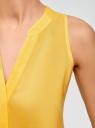 Топ вискозный с V-образным вырезом oodji для женщины (желтый), 11411105B/24681/5100N