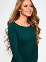 Платье трикотажное облегающего силуэта oodji #SECTION_NAME# (зеленый), 14001183B/46148/6E01N - вид 4