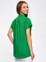 Блузка из вискозы с нагрудными карманами oodji #SECTION_NAME# (зеленый), 11400391-3B/24681/6B00N - вид 3