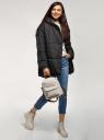 Куртка удлиненная с капюшоном oodji для женщины (черный), 10208004/45928/2900N