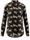 Блузка принтованная из вискозы oodji #SECTION_NAME# (черный), 11411087-1/24681/2935A